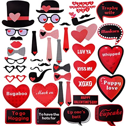 amazon com valentines day photo booth props kit for valentine party