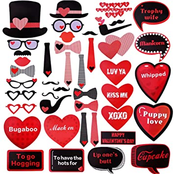 Valentineu0027s Day Party Decorations Photo Booth Props New Design  2018,Mustaches Lips Hearts   43