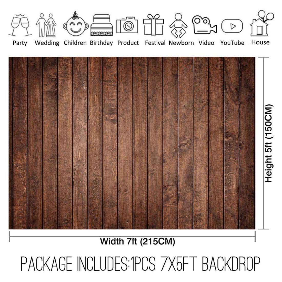 Allenjoy 7x5ft Fabric Vintage Brown Wood Backdrops for Newborn Photography Wrinkle Free Rustic Russet Grunge Wooden Floor Planks Wall Baby Portrait Still Life Product Photographer Photo Studio Props by Allenjoy (Image #2)