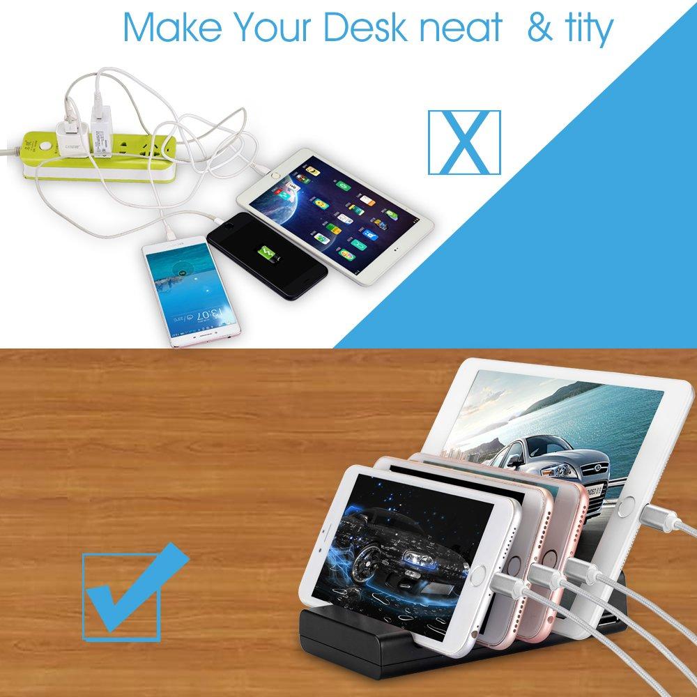 Estación De Carga USB-TOSCiDO 4 Puertos Soporte de Carga Multi Carga Inteligente Incluido El Cable De Carga Rápida 3 En 1 Para iPhone,iPad, Samsung, Smartphones, Tablets