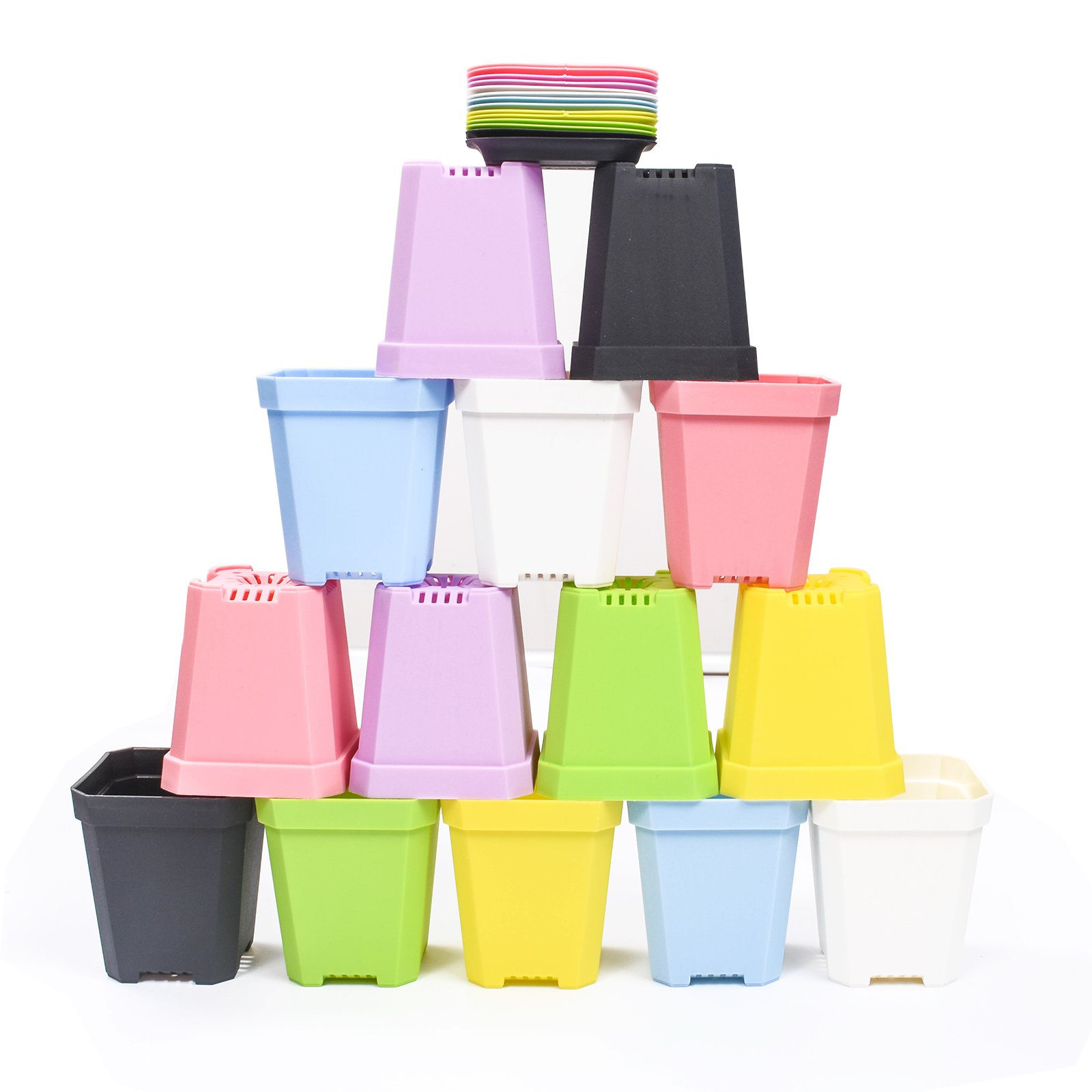 KORAM 14-pack Colorful Flower Pots 2.7-inch Square Plastic Plant Pot Succulent Planter Nursery Pots with Saucer for Home Office Garden, 1 Set of Planting Tools