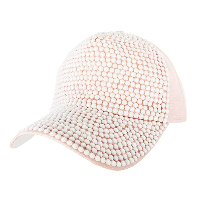 Front Fully Studded Baseball Cap with White Studs Everyday Headwear Trucker Ball  Cap in Pink and b4475069bd8