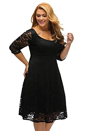 Sunshine Plus Size Dress White Floral Lace Sleeved Fit and Flare ...
