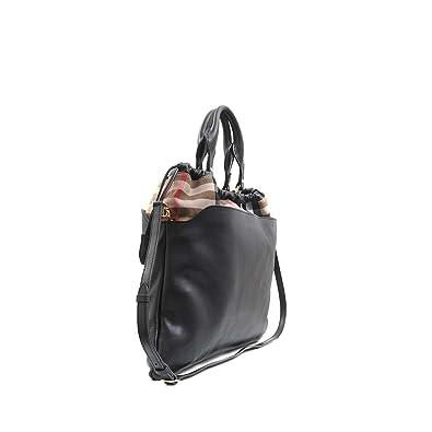Burberry Big Crush Leather and Canvas House Check Tote - Black - Deep Claret  - Copper Orange (Black)  Amazon.co.uk  Shoes   Bags 07fcc9b363371