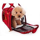 JimmyPet ペットキャリーバッグ(小型犬用 猫用)pet bag carrier 組み立て・折りたたみが簡単!肩掛けもできる軽量ペットキャリー 折り畳ソフトキャリー かわいいキャリーバッグ お出かけ用品 (レッド) 41*28*28cm