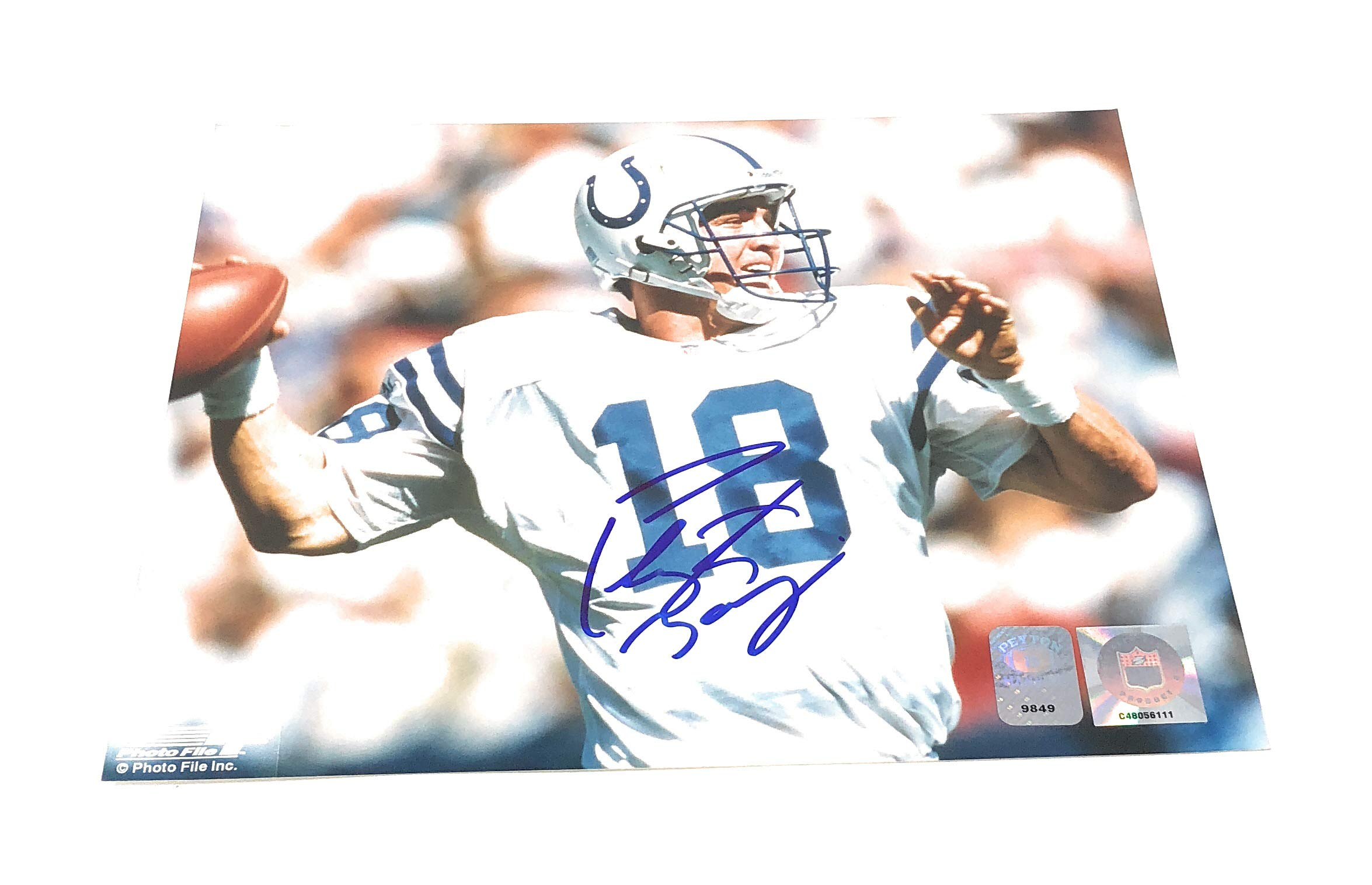 Peyton Manning Indianapolis Colts Signed Autograph 8x10 Photo Photograph P Manning Hologram Certified