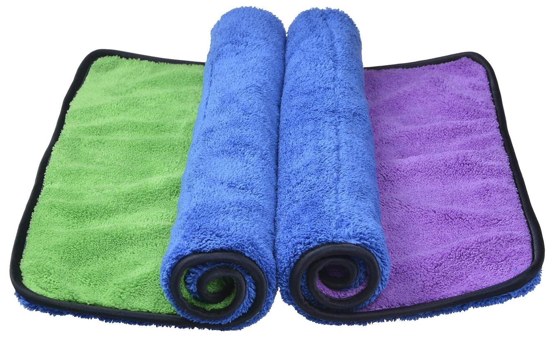 Sinland asciugamani microfibra Ultra Spessa tovagliolo di secchezza Auto lucidatura asciugamano per pulizia 40cmx60cm Blu/Verde+Blu/Viola Confezione da 2 Sinlnad
