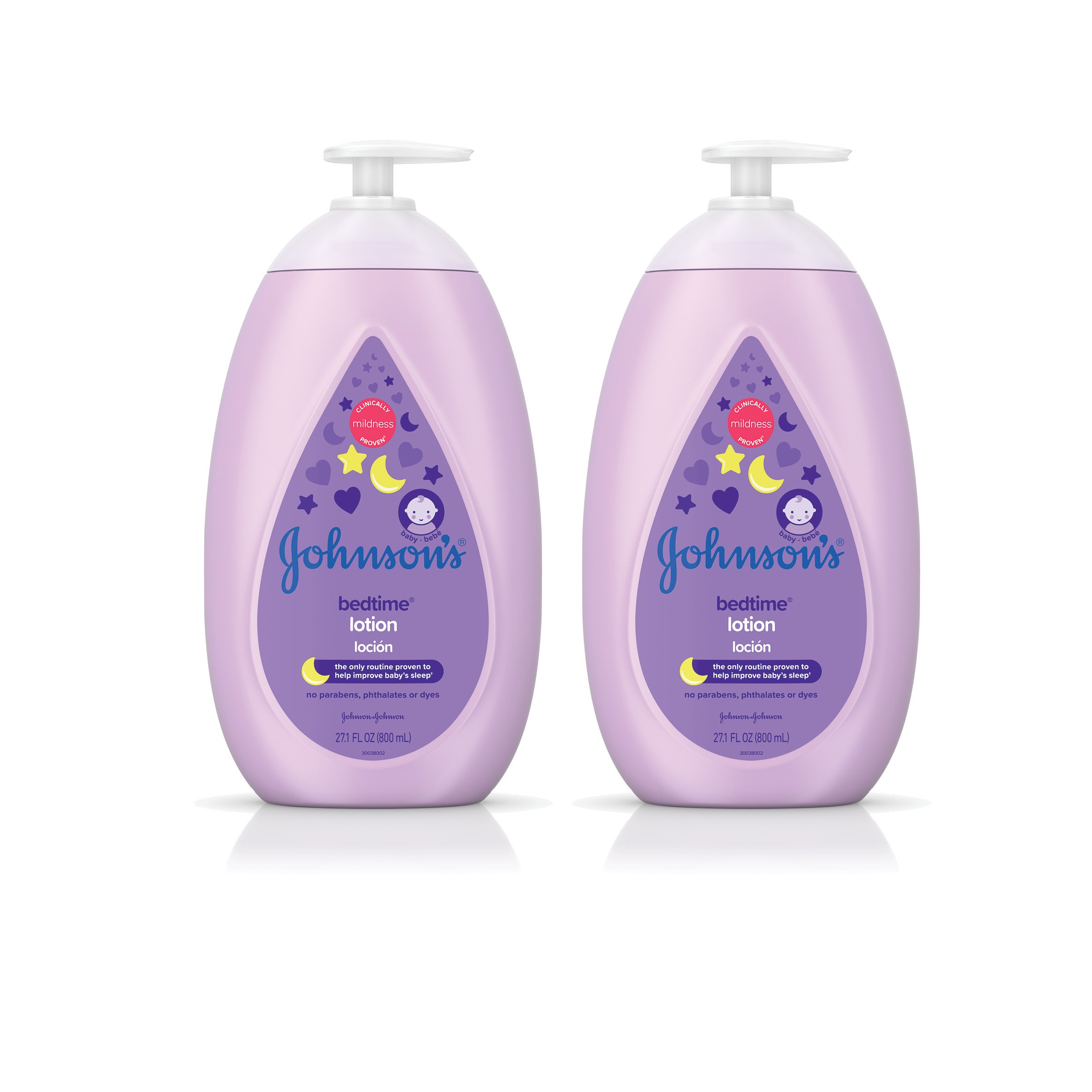 Johnson's Calming Bedtime Baby Lotion, Hypoallergenic and Paraben Free, Twin-Pack, 2X 27.1 fl. oz