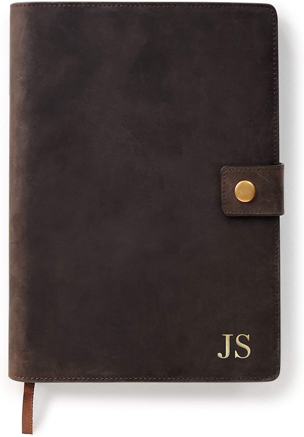 CASE ELEGANCE Monogrammed Full Grain Premium Leather Refillable Journal Cover with A5 Lined Notebook, Pen Loop, Card Slots, Brass Snap