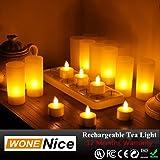 WoneNice SET OF 12 Rechargeable Tea Light Tealight Candles (No batteries necessary!)