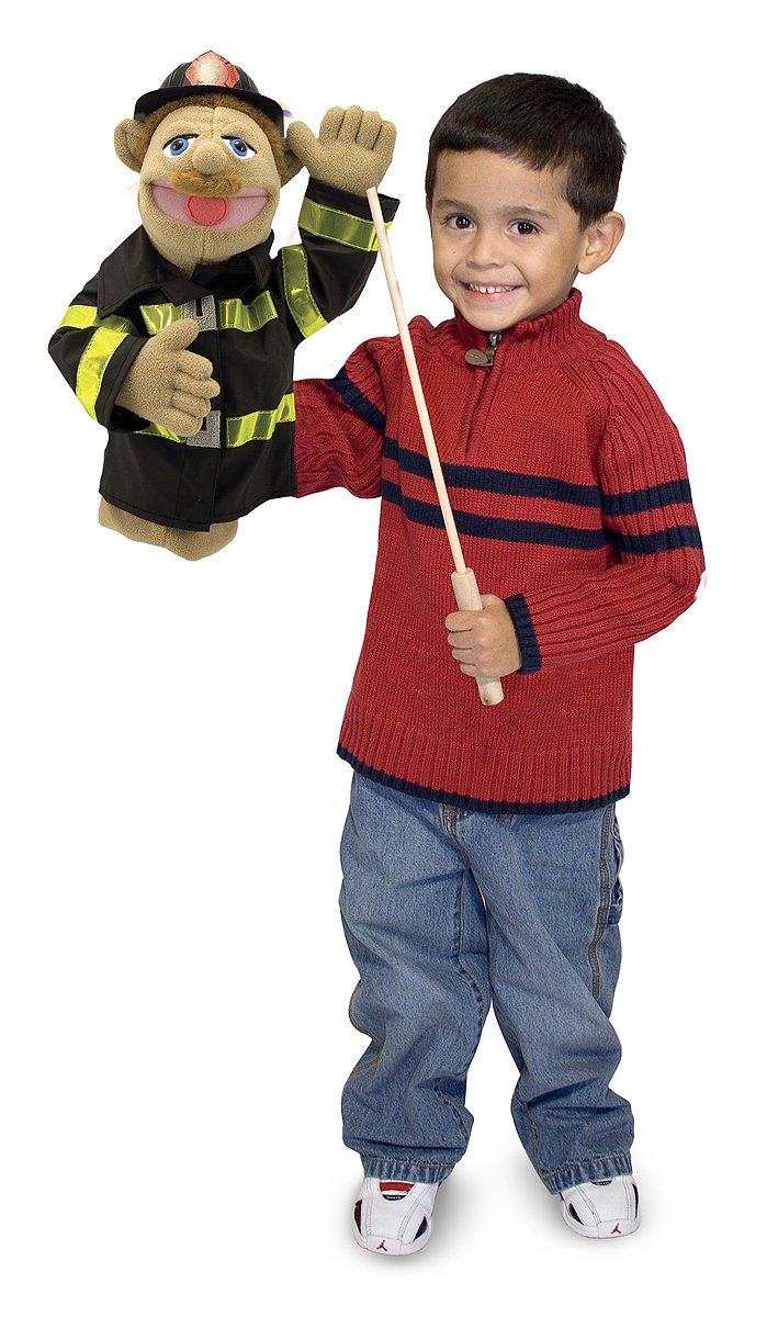 Melissa & Doug Firefighter Puppet With Detachable Wooden Rod for Animated Gestures