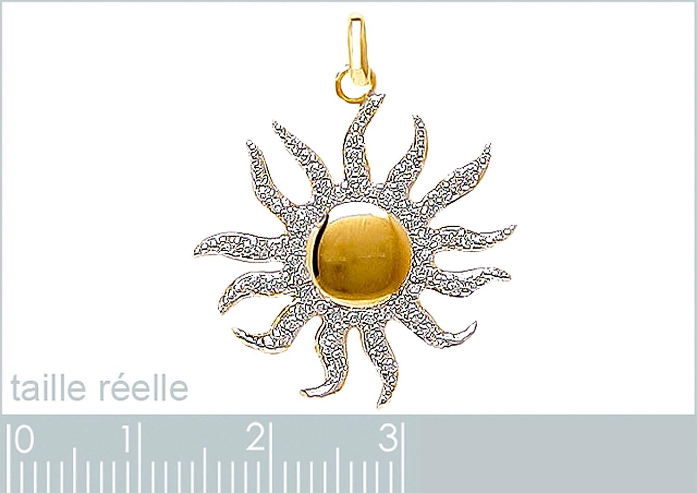 Neuf Pendentif Soleil Plaqu/é Or bicolore 18 carats et Oxydes Zirconium