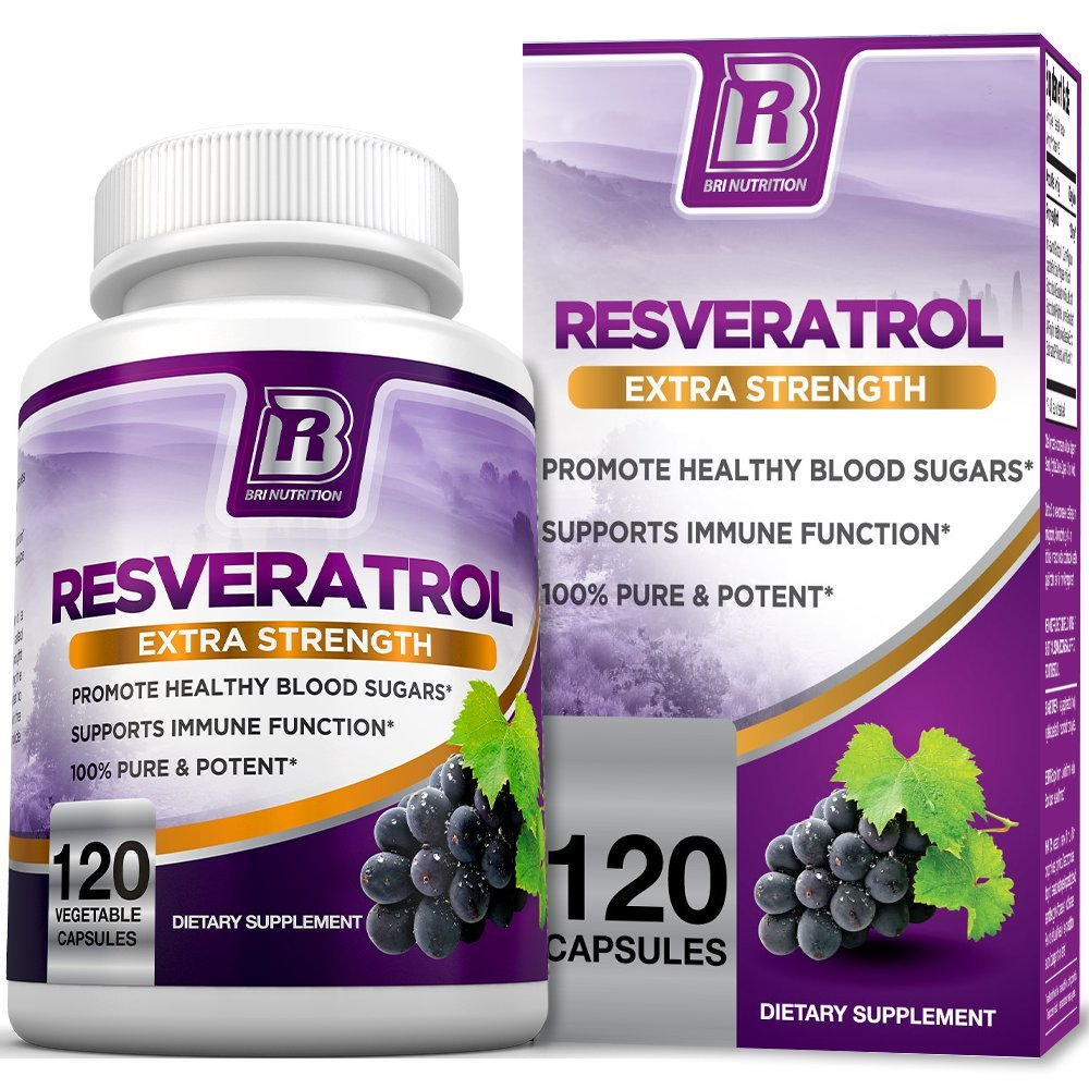 BRI Resveratrol - 1200mg Maximum Strength Natural Antioxidant Supplement for Longevity Premium, Ultra Pure Veggie Caps Promote Healthy Heart and Brain Function and Immune System Health (120 Capsules)