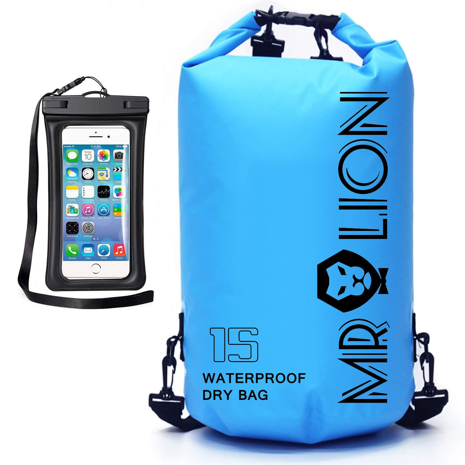 MR LION Waterproof Dry Bag - Roll Top Dry Compression Sack Keeps Gear Dry for Kayaking, Beach, Rafting, Boating, Hiking, Camping, Swimming, Floating and Fishing with Waterproof Phone Case (Blue, 15L)