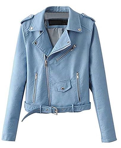 YOGLY Chaqueta de Mujer Casual Chaqueta Con Cremallera Chaqueta Corta de Cuero PU de Mujer Jacket Ot...