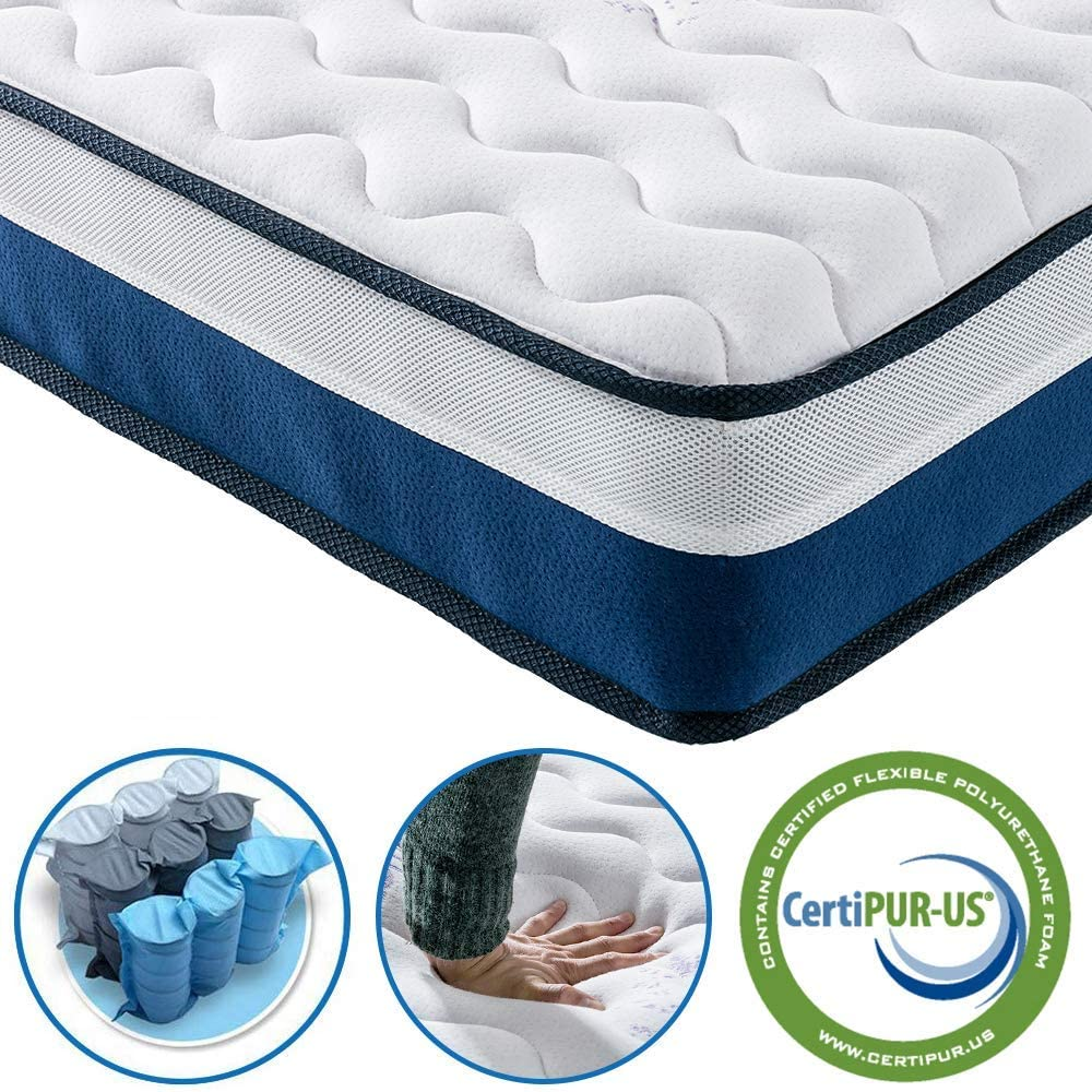 Vesgantti Tight Top Series – 9.5 Inch Innerspring Hybrid Full Mattress Bed in a Box, Medium Firm Plush Feel – Multi-Layer Memory Foam and Pocket Spring – CertiPUR-US Certified 10 Year Warranty