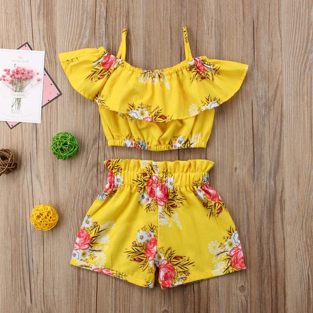 NOMSOCR Toddler Kids Baby Girl 2Pcs Outfit Clothes Set Suspender T-Shirt Top Short Pant