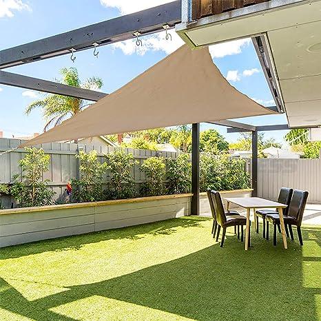 gracosy Toldo Vela de Sombra Triangular HDPE Protección Rayos UV,3.6 * 3.6 * 3.6m,para Patio, Exteriores, Jardín, Balcón,Resistente ...