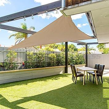 gracosy Toldo Vela de Sombra Triangular HDPE Protección Rayos UV, 3.6 * 3.6 * 3.6m, para Patio, Exteriores, Jardín, Balcón, Resistente Transpirable, Prueba Viento y Polvo: Amazon.es: Jardín
