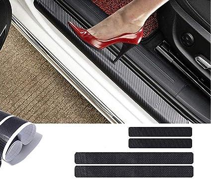 Pegatina protectora para umbral de puerta de coche de fibra de carbono 4D, protección de parachoques, calcomanía antiarañazos con fuerte adhesivo para coche, SUV, camioneta, Sedán (4 unidades): Amazon.es: Coche y moto
