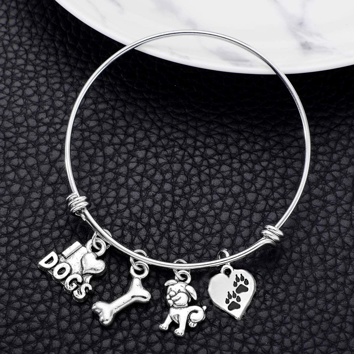 ODLADM Dog Charms Bracelet I Love Dogs Paw Print Dog Lover Jewelry Gifts for Her