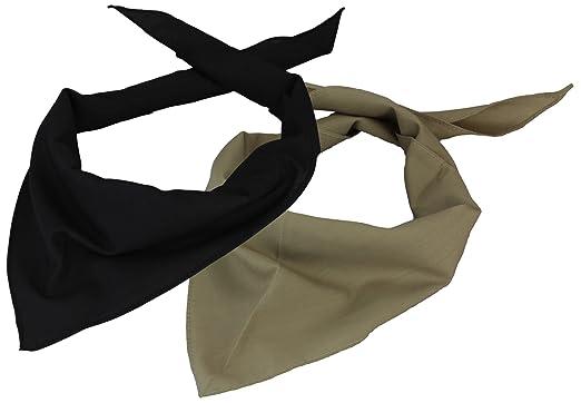 d0ba8cd46a35 Lot de 2 Foulard Triangle en noir beige  Amazon.fr  Vêtements et ...
