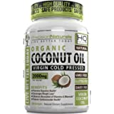 Organic Coconut Oil Capsules / Pills 2000mg/Serving Virgin Cold Pressed Non GMO for Weight Loss, Extra Hair Growth and Healthy Skin. Unrefined Pure Coconut Oil Source of MCFA. 60 Servings/Bottle