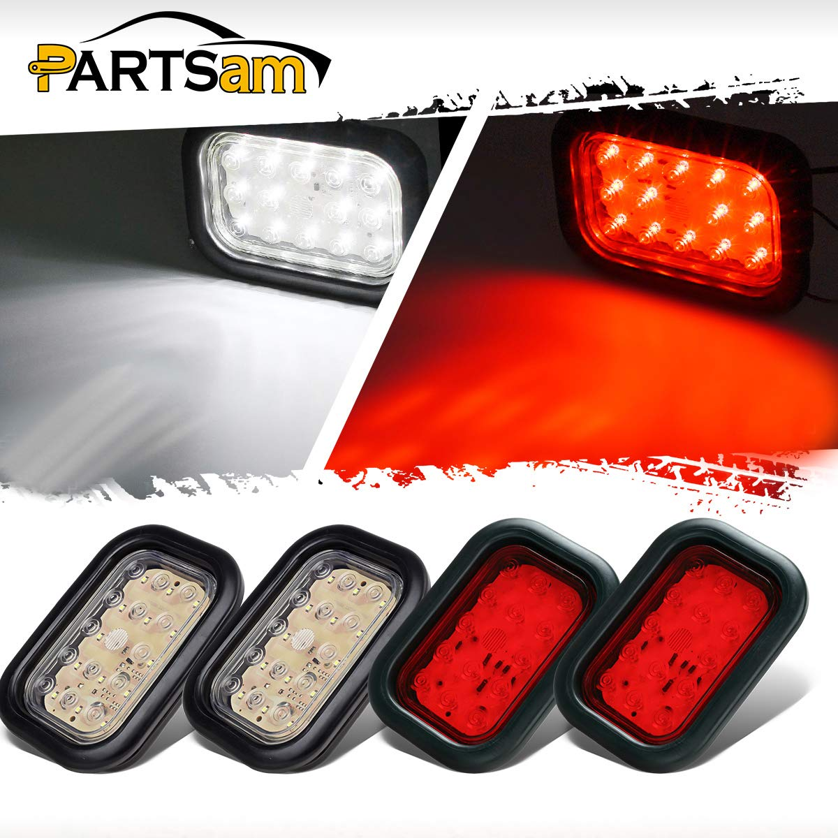 Partsam 4pcs 5 X3 Rectangle Led Tail Lights Stop Turn Brake Backup Reverse Light Truck Trailer Hitch Light Utility 14 Led Flush Mount Sealed Grommet