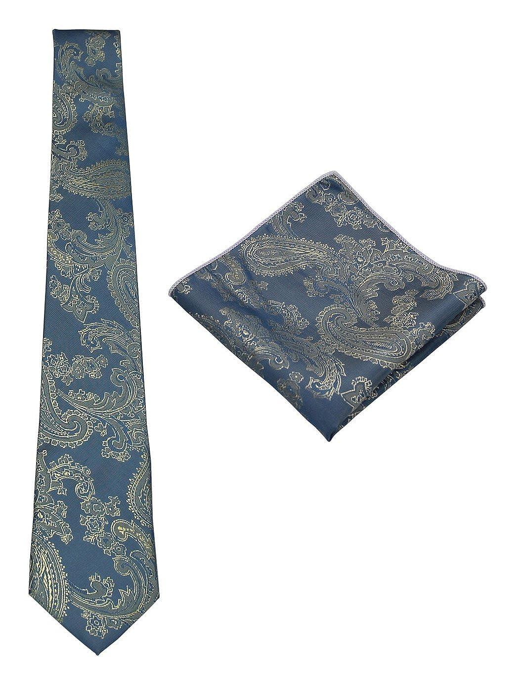 Necktie and Pocket Square Mens Silk Paisley Tie Set