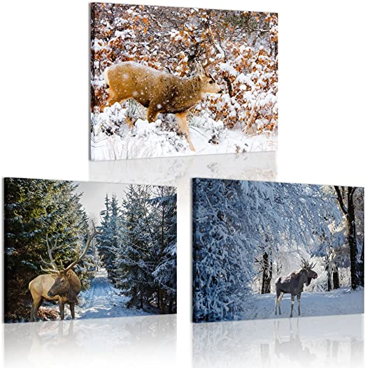 """Forest Deer HD Canvas prints Painting Home Decor Picture Wall art Poster 16/""""x24/"""""""