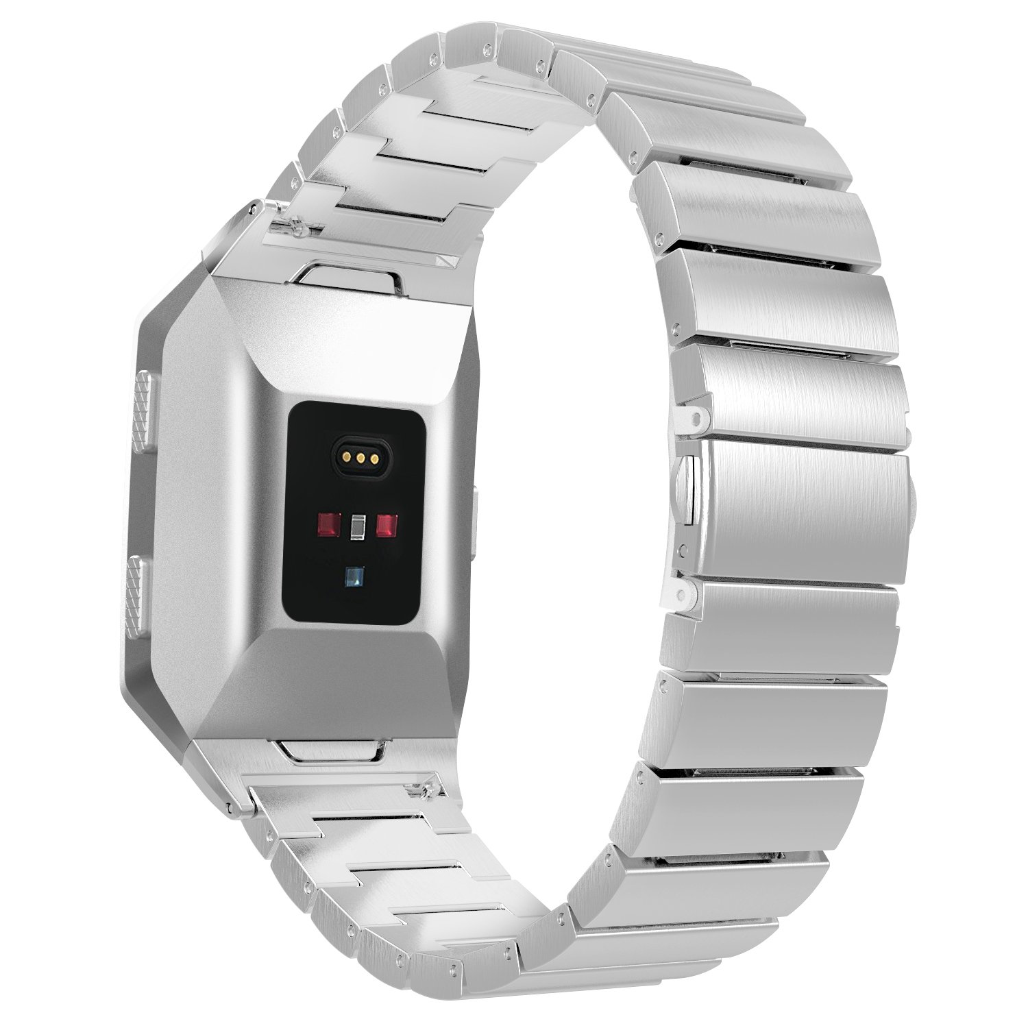 MoKo Fitbit Ionic Watch Band , Stainless Steel Metal Watch Strap Wristband Bracelet with Connectors for Fitbit Ionic Smart Watch, Wrist Size 5.77''-7.87'' (130mm-200mm)- Silver
