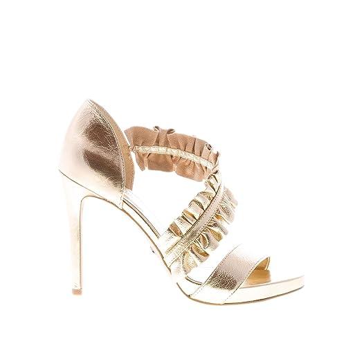 906635b1b9 Michael Kors Donna Sandalo Bella Open Toe in Pelle Oro con Fascia Ruches.  Tacco 10