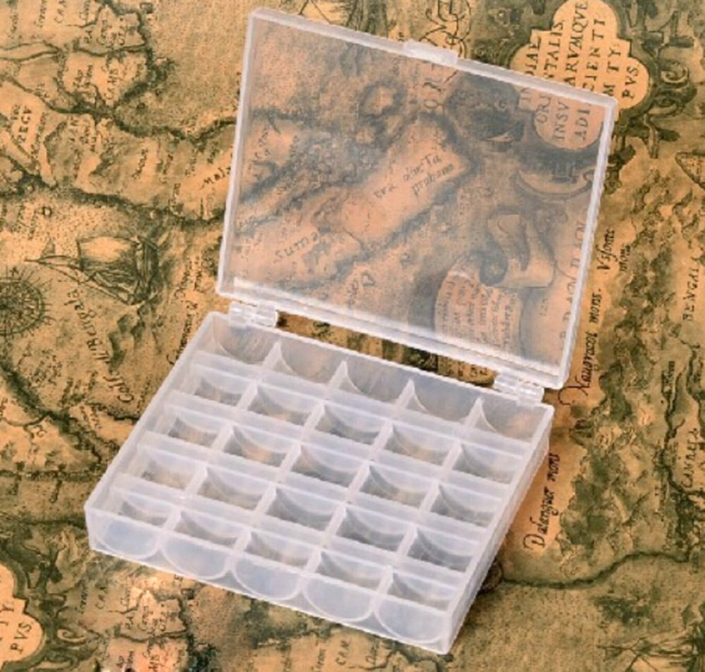 Desuper Transparent Plastic Bobbin Organizer Box
