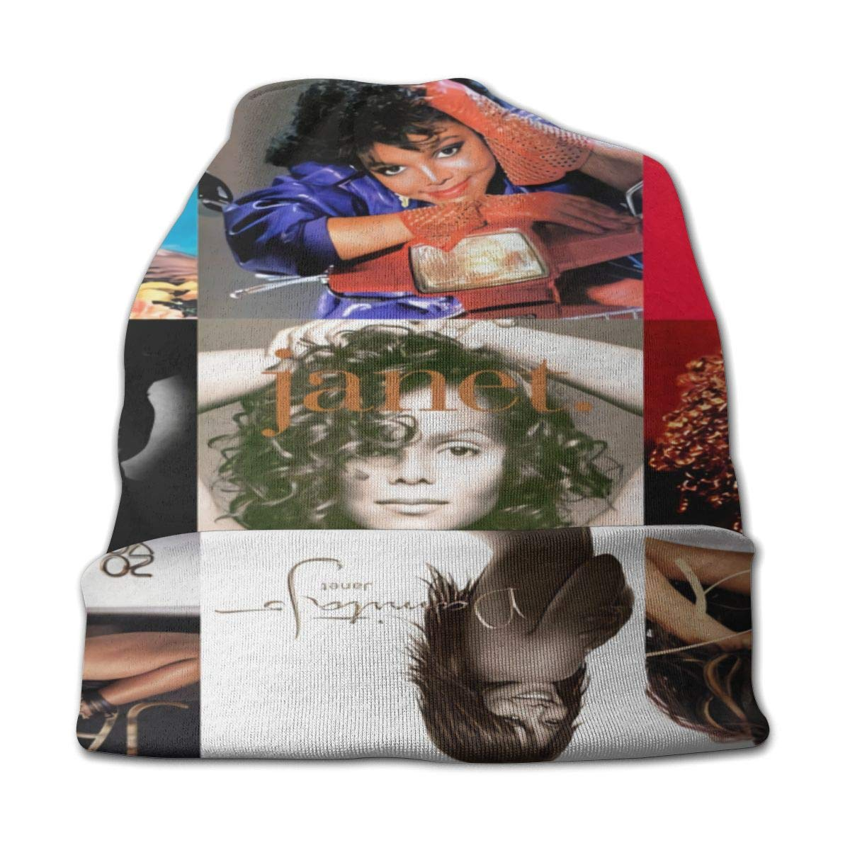 MORGAN MYERS Janet Jackson Adult Knit Hats Fashion Casual Beanie Hat 3D Pattern Skull Cap Unisex Knit Cap Black