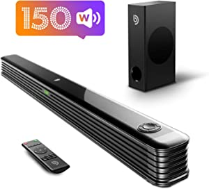 Sound Bar with True Wireless Subwoofer, Bomaker 150W 2.1 CH Ultra-Slim TV Sound Bar, Works with 4K & HD TVs, Treble & Bass Adjustable, LED Display, Bluetooth 5.0 Enabled, Outdoor Surround Sound