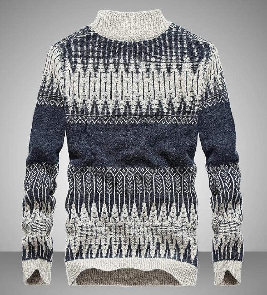 Jofemuho Mens Print Long Sleeve Turtleneck Knitwear Casual Pullover Sweater