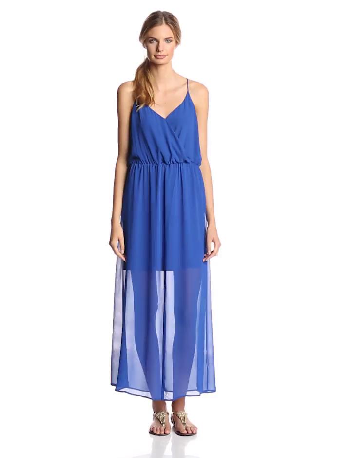Vince Camuto Women's Chiffon Overlay Slit Maxi Dress, Sailor Blue, Medium