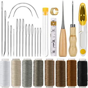 Cosyland Leather Sewing Kit Upholstery Repair Kit 29-Pack Embroidery Hand Sewing Stitching Needle Thread