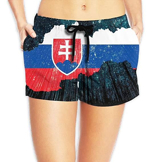 f104c685fa Amazon.com: Yongchuang Feng Flag Of Slovakia Women's Funny Hot Pants Summer  Casual Beach Shorts Quick Dry Swim Trunks: Clothing