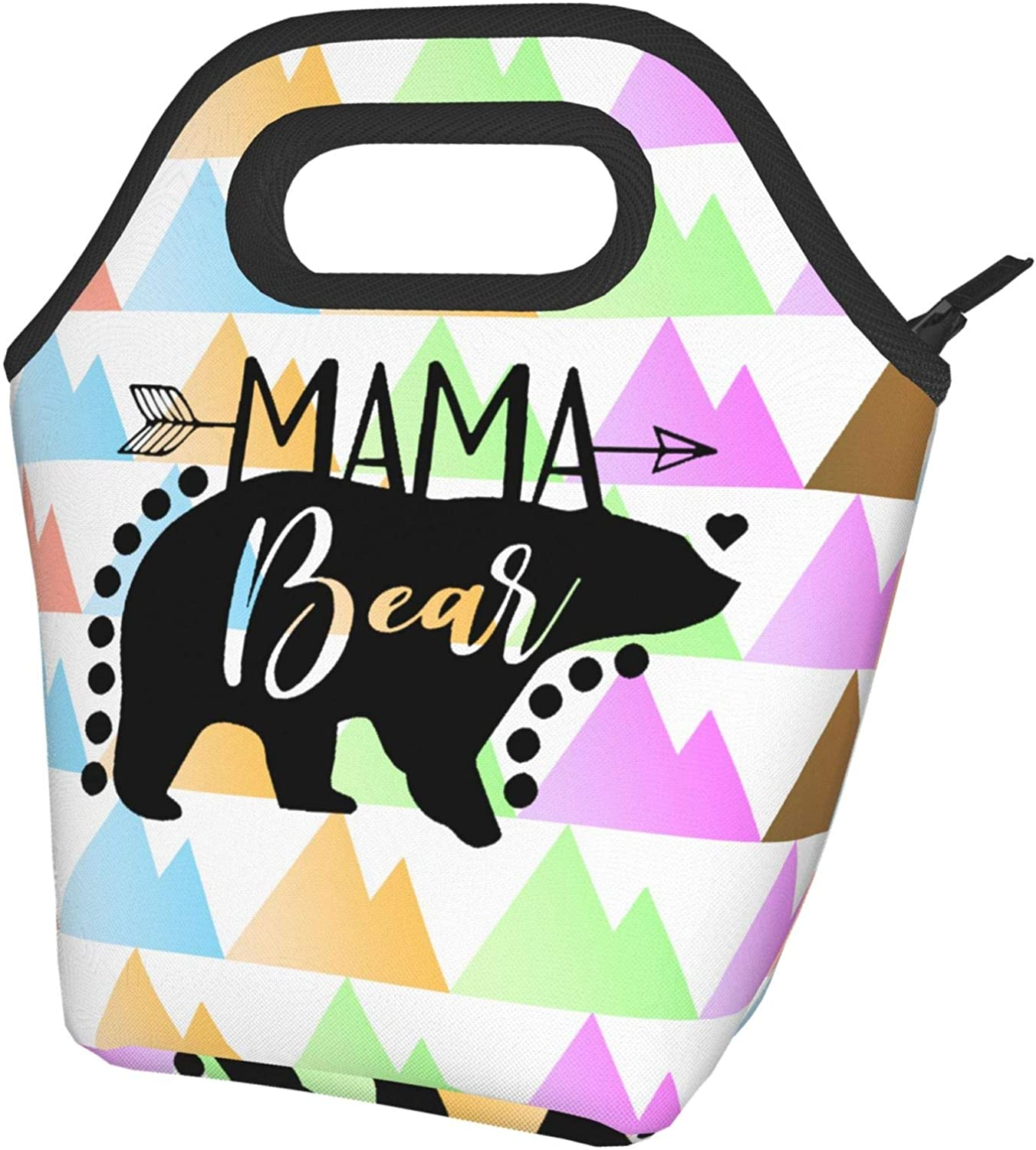 Cute Cartoon Mama Bear Lunch Bag for Women,Reusable Portable Insulated Lunch Box Food Container for Office School Travel Picnic Outdoor