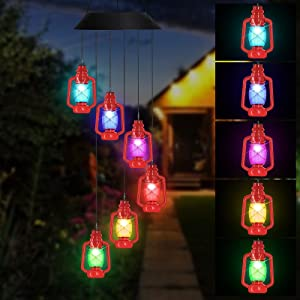 AceList Lanterns Solar Wind Chimes for Outside LED Lights, Color Changing Waterproof Windchimes Unique Outdoor Decor, Hanging Solar Power Wind Chime, Patio Yard Garden Home
