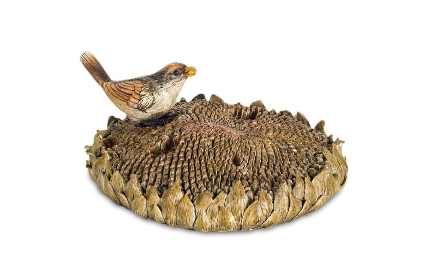 Diva At Home Pack of 2 Bronze Bird with Sunflower Decorative Tabletop Figurine Piece 7.75''