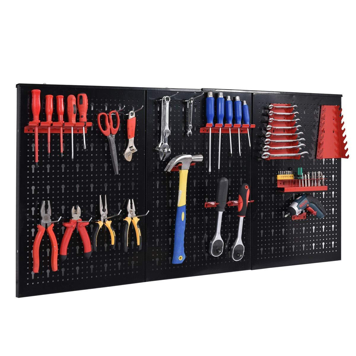 24'' x 48'' Metal Pegboard Panels Garage Tool Board Storage Organizer Holder Black by allgoodsdelight365 (Image #2)