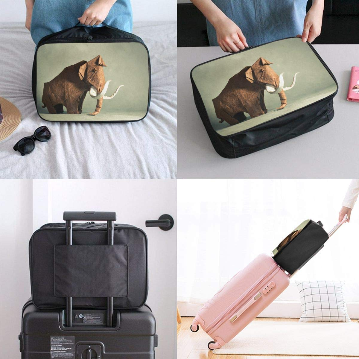 Travel Luggage Duffle Bag Lightweight Portable Handbag Origami Elephant Pattern Large Capacity Waterproof Foldable Storage Tote