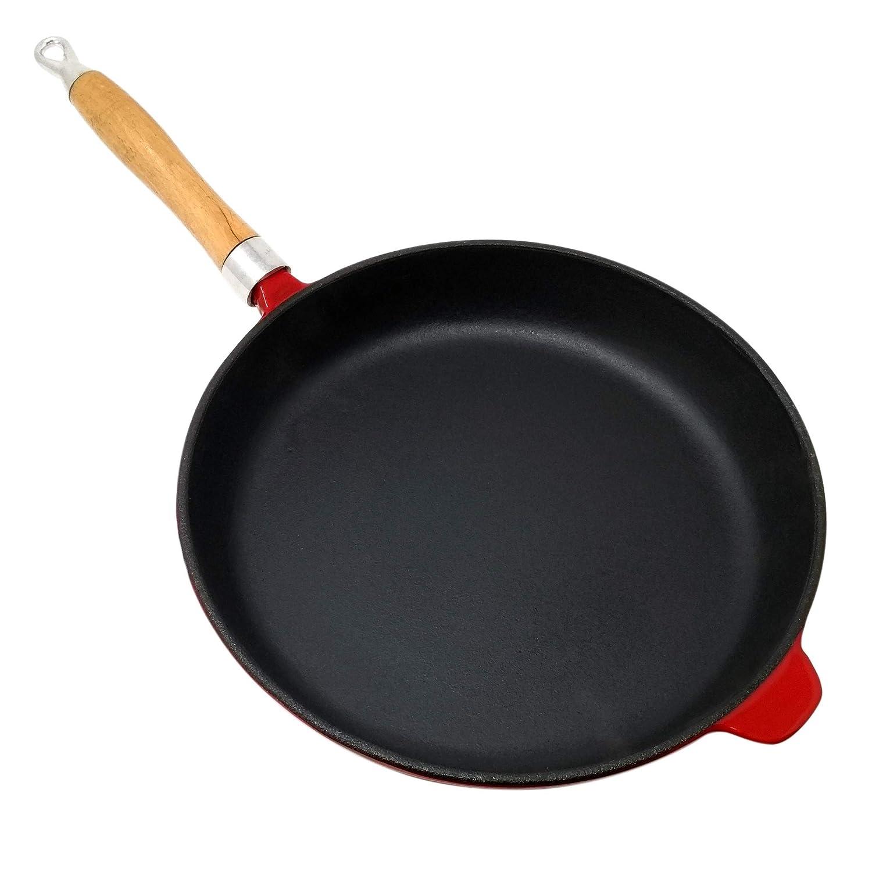 Big de hierro fundido BBQ Sartén 26 cm de diámetro, altura de 5 cm, sartén con mango de madera desmontable, rojo esmaltado, para todo tipo de fuegos: ...