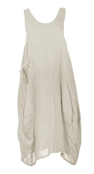 3044951e8a TEXTURE Ladies Women Italian Lagenlook Plain Sleeveless One Pocket Linen  Midi Dress One Size (Beige