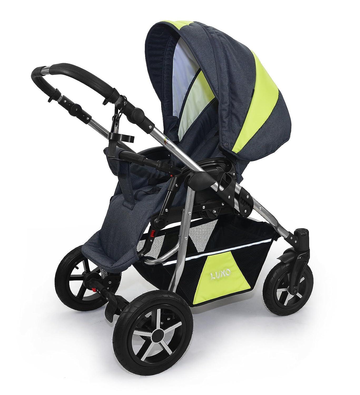 Sport Buggyaufsatz und Babyschale Babywanne Skyline 3in1 Kombi Kinderwagen Babywagen mit einem modernen Gestell Beige Len-Braun Len ISOFIX