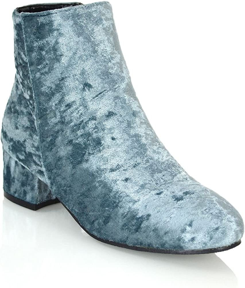 ESSEX GLAM Womens Velvet Ankle Boots Flat Heel Zipper Round Toe Ankle Casual Smart Boots