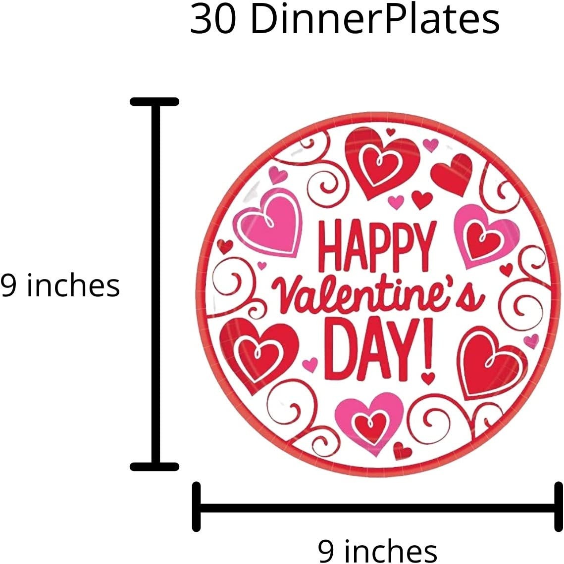 Valentines Paper Plates and Napkins Set for 30 with Plastic Tablecloth with Red and Pink Hearts
