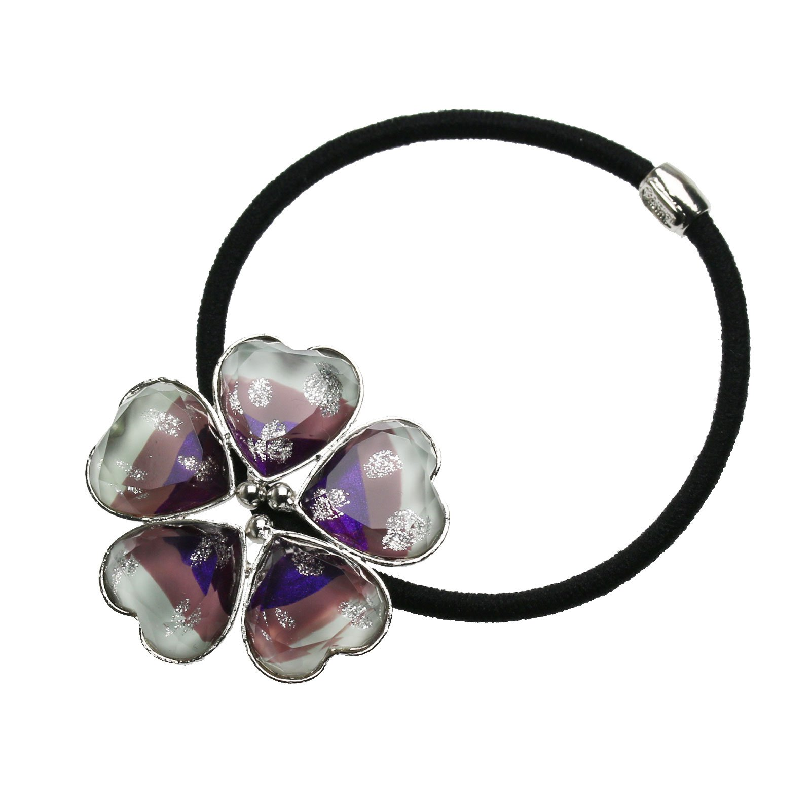 Tamarusan Ponytail Holder Purple Gradient Rainbow Flower Hair Rubber Heart Silver Lame